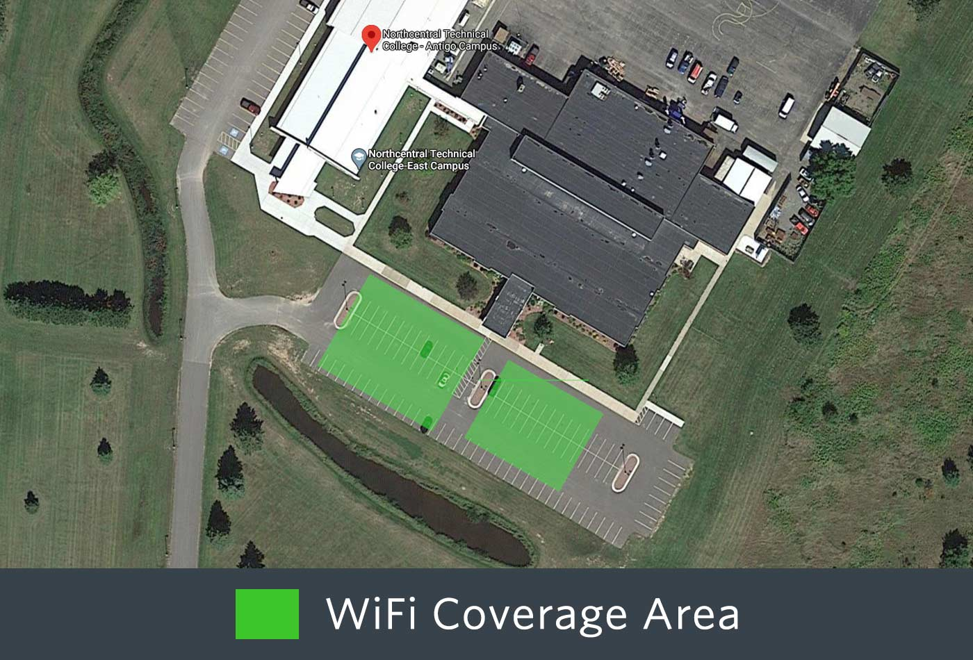 Outdoor WiFi coverage of the front of the Antigo Campus