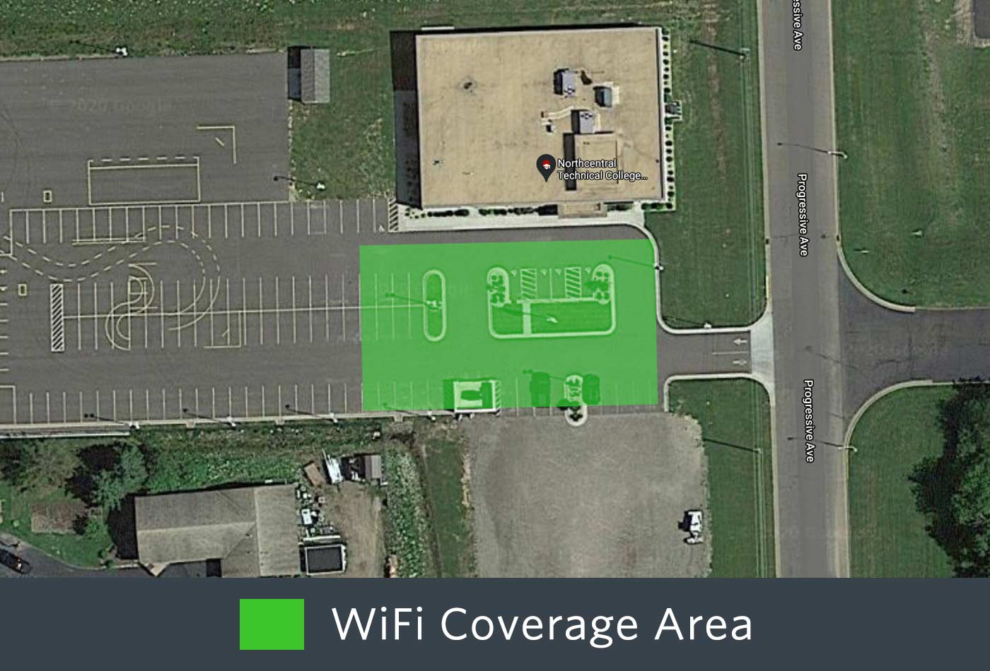 Outdoor WiFi coverage of the front of the Medford Campus