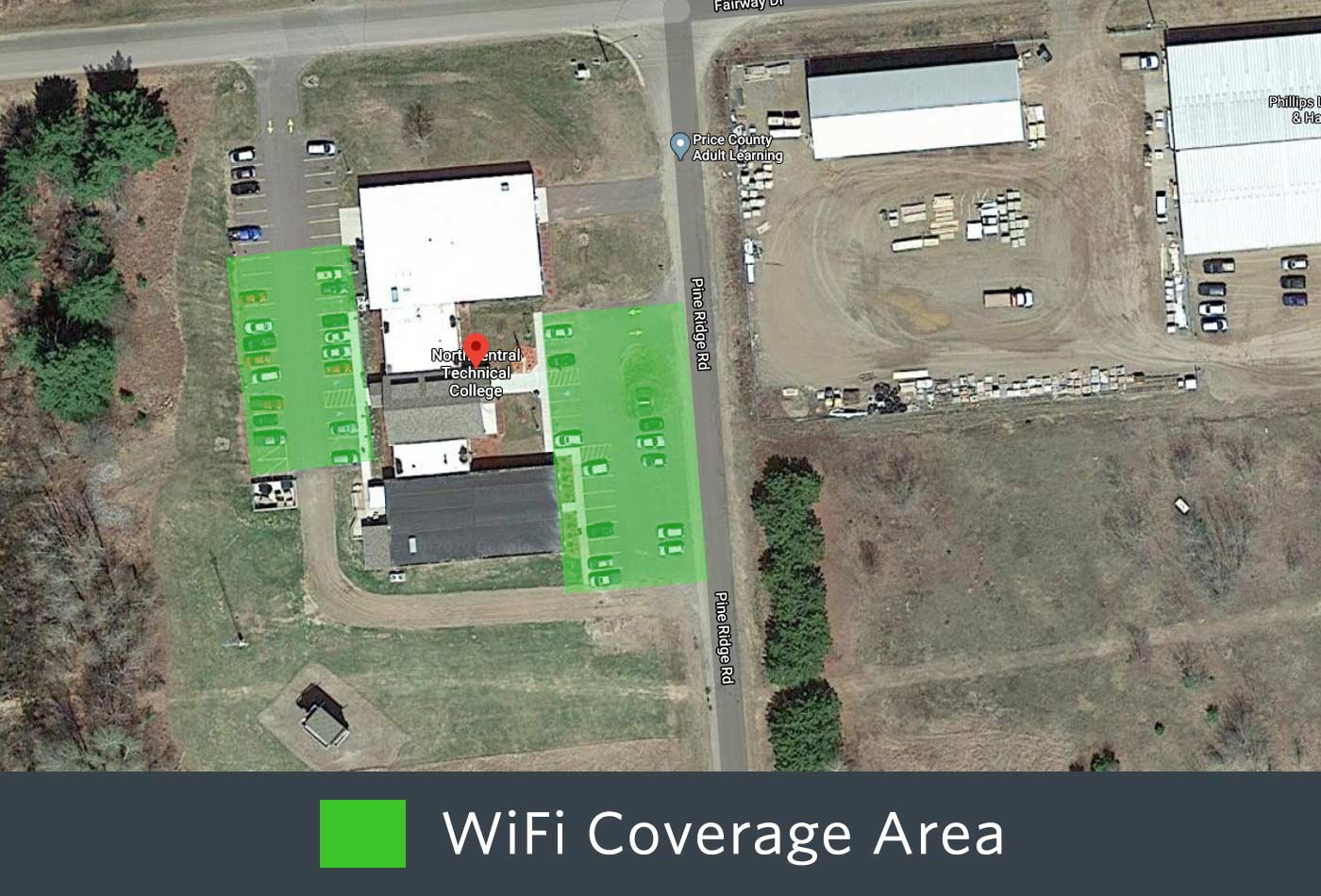 Outdoor WiFi coverage of the front of the Phillips Campus