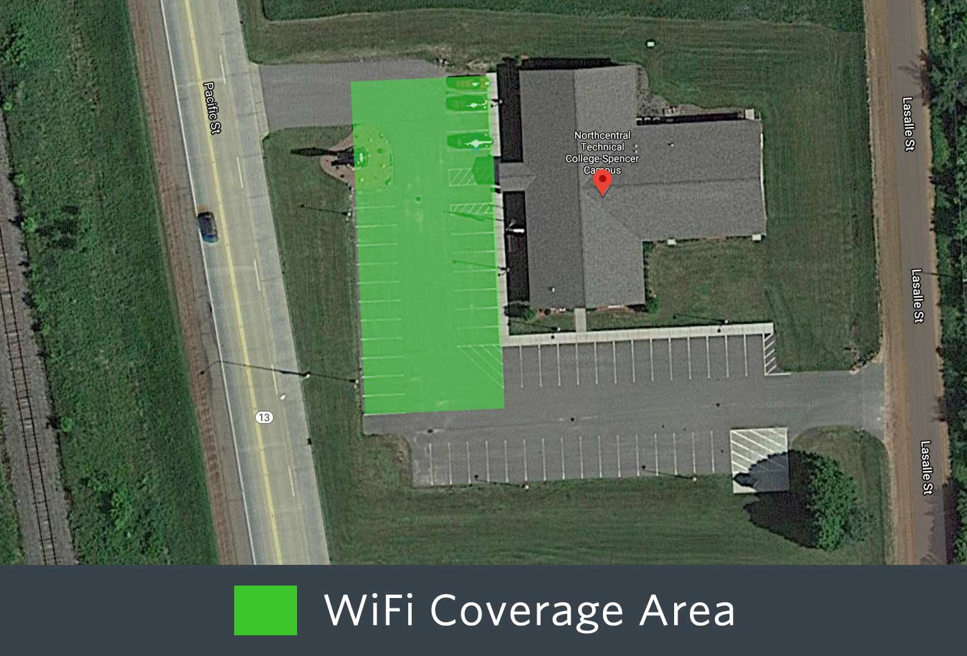 Outdoor WiFi coverage of the front of the Spencer Campus