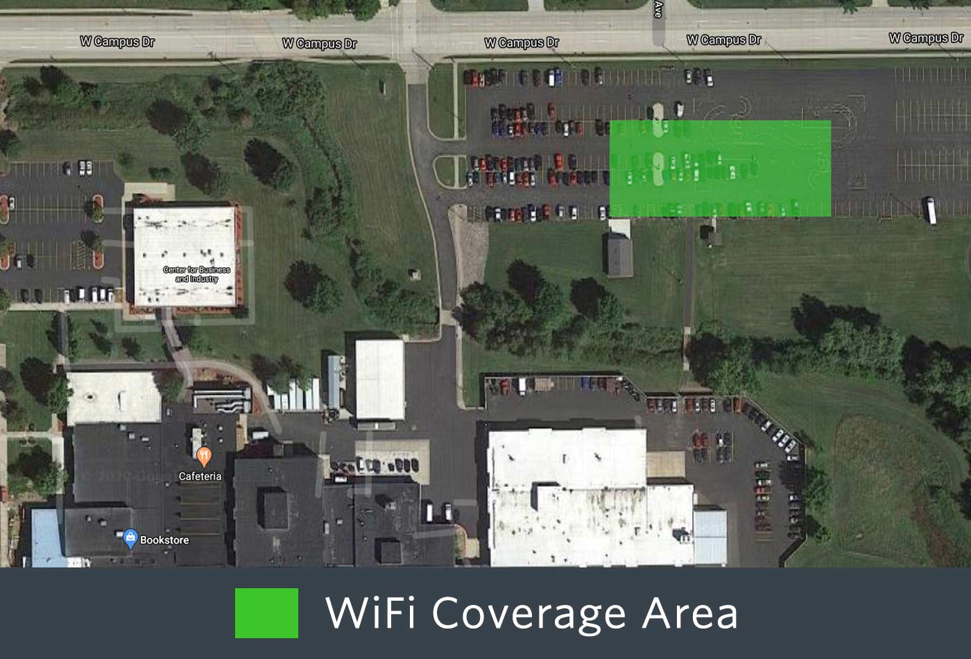 Outdoor WiFi coverage of the back of the Wausau Campus