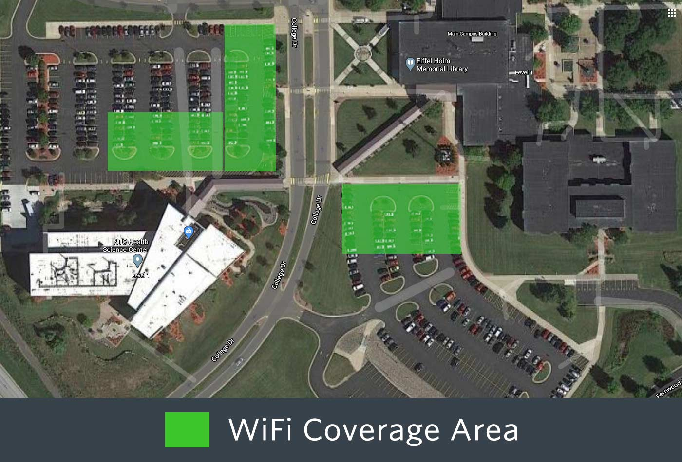 Outdoor WiFi coverage of the front of the Wausau Campus
