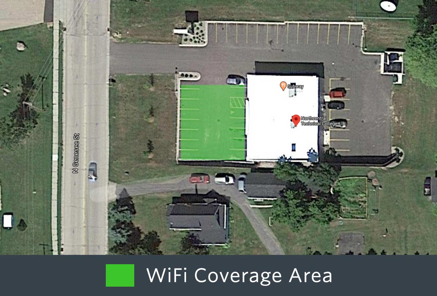 Outdoor WiFi coverage of the front of the Wittenberg Campus