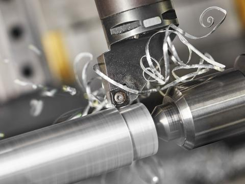 A detailed closeup of metal machining.