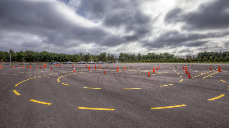Traffic safety course with cones set up