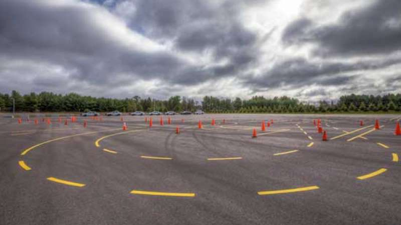 EVOC Skidpad with cones set up and lines painted on the pavement.