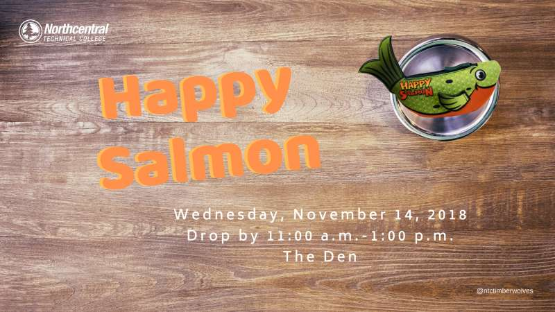 Picture of a table with the Happy Salmon game and event text.