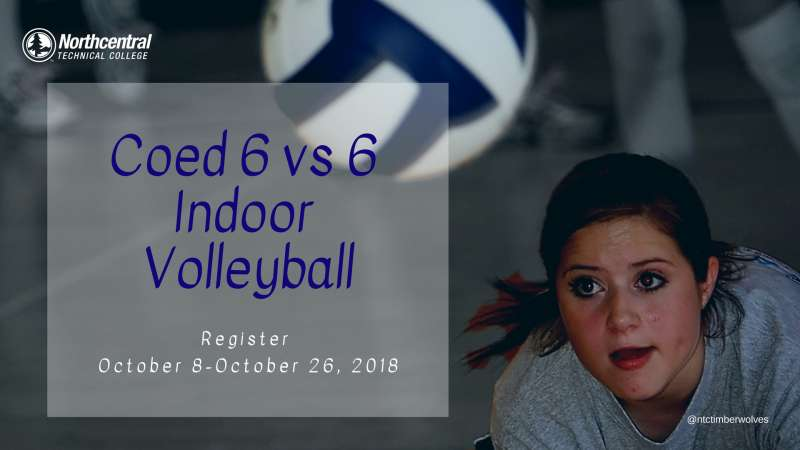 Photo of woman hitting volleyball with event text overlay.