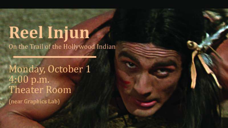 Image from the movie Reel Injun with an overlay of event details.