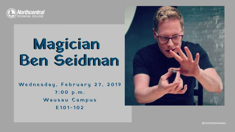 Image of magician Ben Seidman with an overlay of event info.