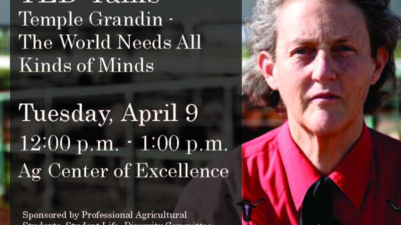 Image of Temple Grandin with an overlay of event details.