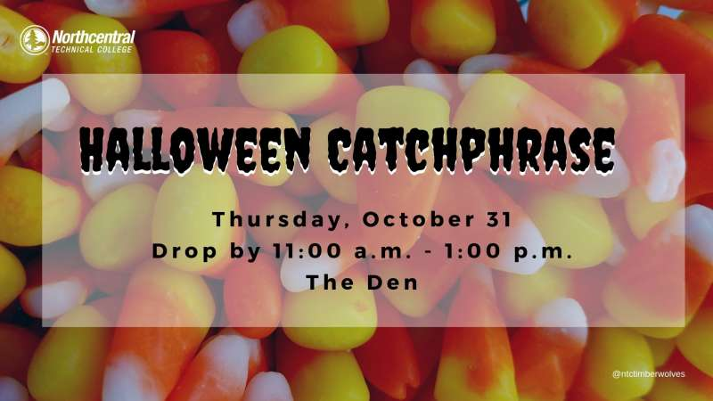 Image of candy corn with an overlay of event information.