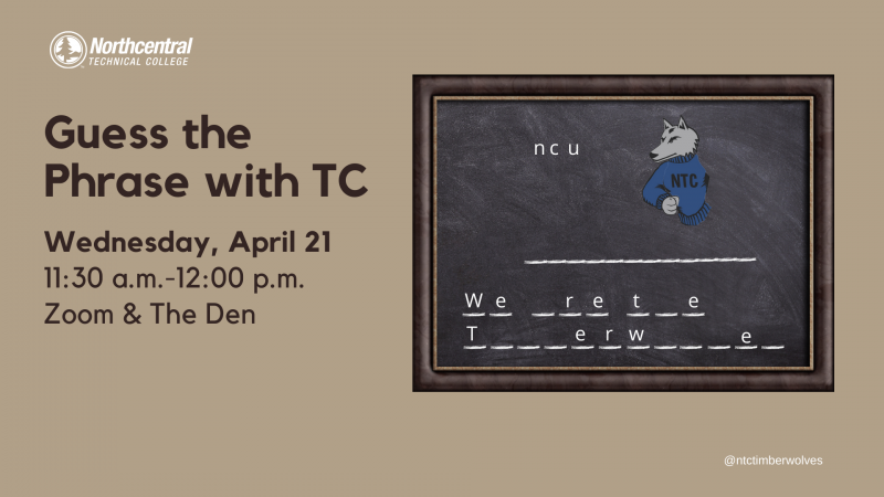 Chalkboard with dashes and the start of TC Timberwolf with an overlay of event information.