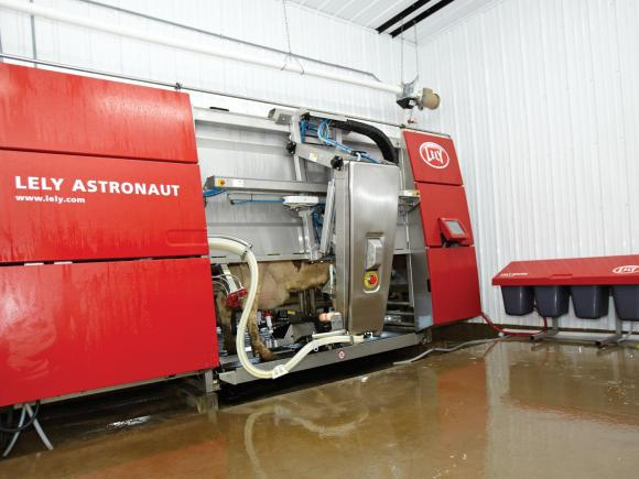 A large red milking machine sits in the corner of the shed. A cow is inside it being milked.