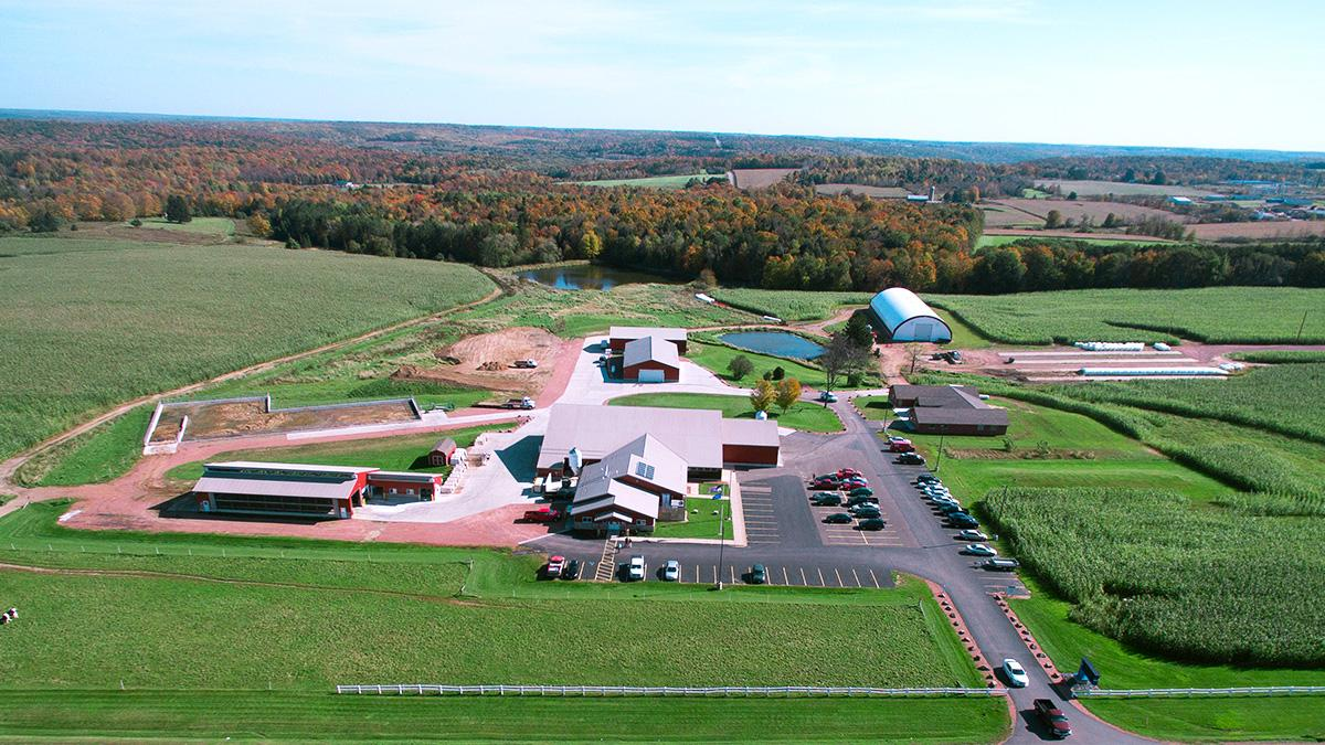 An large aerial view of the Wausau NTC Agriculture Center of Excellence