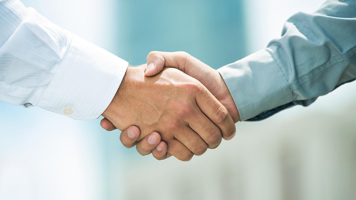 Two hands are joined in a handshake